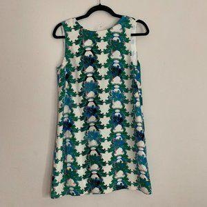 Missoni Blue Green Lily Floral Silk Shift Dress